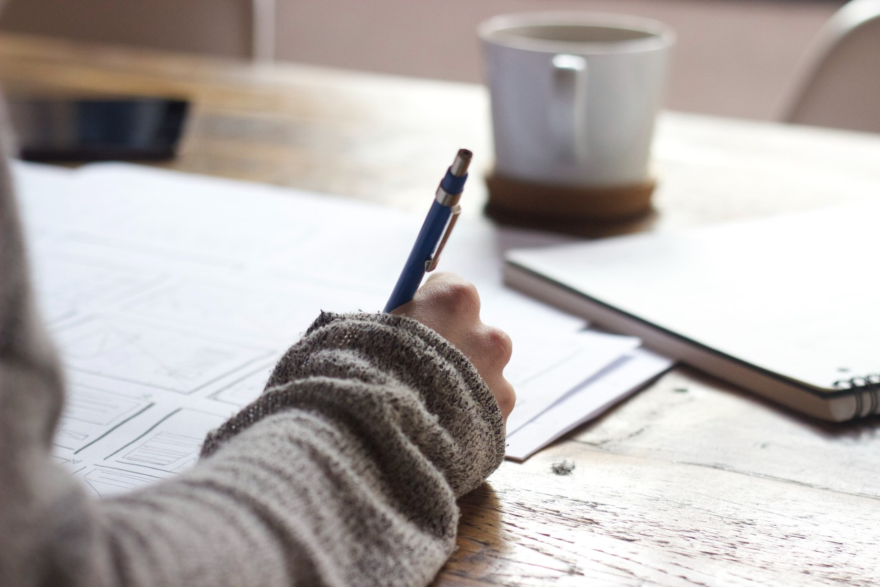 writing at table
